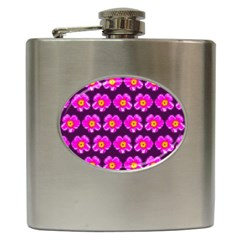 Pink Flower Pattern On Wine Red Hip Flask (6 Oz) by Costasonlineshop