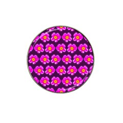 Pink Flower Pattern On Wine Red Hat Clip Ball Marker (4 Pack) by Costasonlineshop