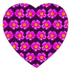 Pink Flower Pattern On Wine Red Jigsaw Puzzle (heart) by Costasonlineshop