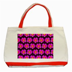 Pink Flower Pattern On Wine Red Classic Tote Bag (red) by Costasonlineshop