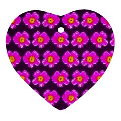 Pink Flower Pattern On Wine Red Heart Ornament (2 Sides)