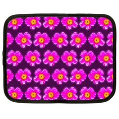 Pink Flower Pattern On Wine Red Netbook Case (large) by Costasonlineshop