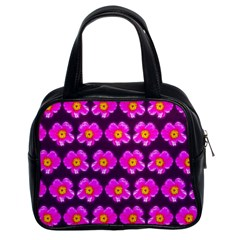 Pink Flower Pattern On Wine Red Classic Handbags (2 Sides) by Costasonlineshop
