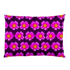 Pink Flower Pattern On Wine Red Pillow Case by Costasonlineshop