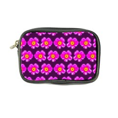 Pink Flower Pattern On Wine Red Coin Purse by Costasonlineshop