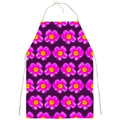 Pink Flower Pattern On Wine Red Full Print Aprons