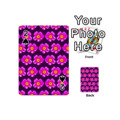 Pink Flower Pattern On Wine Red Playing Cards 54 (mini)  by Costasonlineshop
