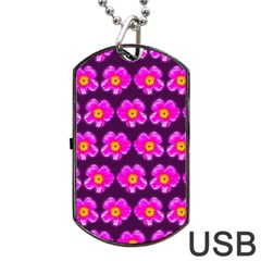 Pink Flower Pattern On Wine Red Dog Tag Usb Flash (one Side) by Costasonlineshop