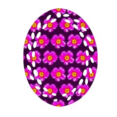 Pink Flower Pattern On Wine Red Oval Filigree Ornament (2 Side)  by Costasonlineshop