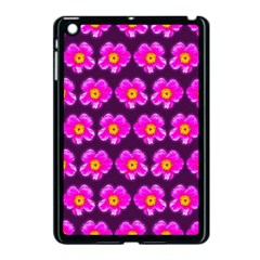 Pink Flower Pattern On Wine Red Apple Ipad Mini Case (black) by Costasonlineshop