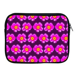 Pink Flower Pattern On Wine Red Apple Ipad 2/3/4 Zipper Cases by Costasonlineshop