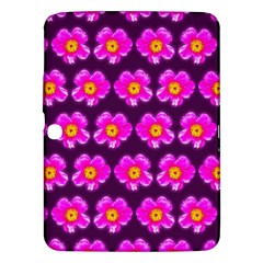 Pink Flower Pattern On Wine Red Samsung Galaxy Tab 3 (10 1 ) P5200 Hardshell Case  by Costasonlineshop