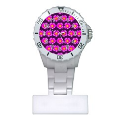 Pink Flower Pattern On Wine Red Plastic Nurses Watch by Costasonlineshop