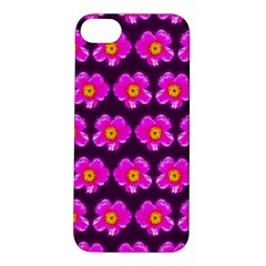 Pink Flower Pattern On Wine Red Apple Iphone 5s/ Se Hardshell Case by Costasonlineshop
