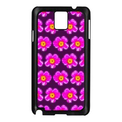 Pink Flower Pattern On Wine Red Samsung Galaxy Note 3 N9005 Case (black) by Costasonlineshop