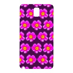 Pink Flower Pattern On Wine Red Samsung Galaxy Note 3 N9005 Hardshell Back Case by Costasonlineshop