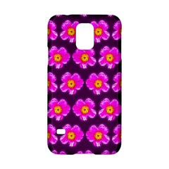 Pink Flower Pattern On Wine Red Samsung Galaxy S5 Hardshell Case  by Costasonlineshop