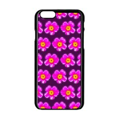 Pink Flower Pattern On Wine Red Apple Iphone 6/6s Black Enamel Case by Costasonlineshop