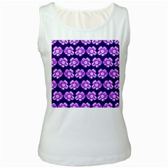 Purple Flower Pattern On Blue Women s White Tank Top by Costasonlineshop