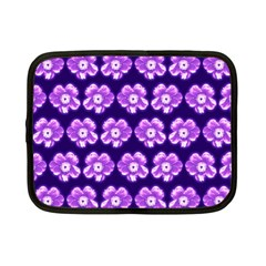 Purple Flower Pattern On Blue Netbook Case (small)  by Costasonlineshop