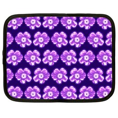 Purple Flower Pattern On Blue Netbook Case (large) by Costasonlineshop