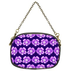 Purple Flower Pattern On Blue Chain Purses (two Sides)