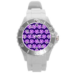 Purple Flower Pattern On Blue Round Plastic Sport Watch (l) by Costasonlineshop