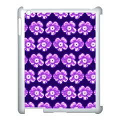 Purple Flower Pattern On Blue Apple Ipad 3/4 Case (white) by Costasonlineshop