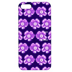 Purple Flower Pattern On Blue Apple Iphone 5 Hardshell Case With Stand by Costasonlineshop