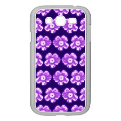 Purple Flower Pattern On Blue Samsung Galaxy Grand Duos I9082 Case (white) by Costasonlineshop