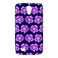 Purple Flower Pattern On Blue Samsung Galaxy Mega 6 3  I9200 Hardshell Case by Costasonlineshop