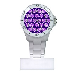 Purple Flower Pattern On Blue Plastic Nurses Watch by Costasonlineshop