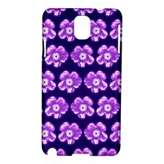 Purple Flower Pattern On Blue Samsung Galaxy Note 3 N9005 Hardshell Case