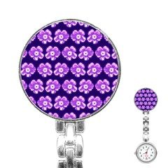 Purple Flower Pattern On Blue Stainless Steel Nurses Watch by Costasonlineshop