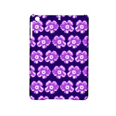 Purple Flower Pattern On Blue Ipad Mini 2 Hardshell Cases by Costasonlineshop