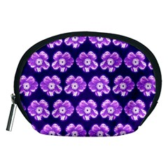 Purple Flower Pattern On Blue Accessory Pouches (medium)  by Costasonlineshop