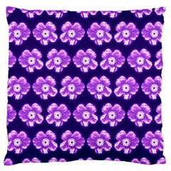 Purple Flower Pattern On Blue Large Flano Cushion Case (one Side) by Costasonlineshop