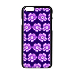 Purple Flower Pattern On Blue Apple Iphone 6/6s Black Enamel Case by Costasonlineshop