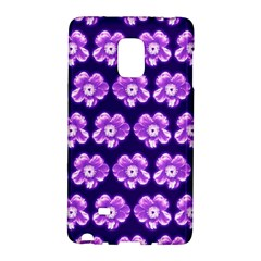 Purple Flower Pattern On Blue Galaxy Note Edge by Costasonlineshop