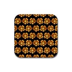 Yellow Brown Flower Pattern On Brown Rubber Square Coaster (4 Pack)  by Costasonlineshop