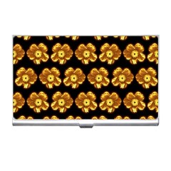 Yellow Brown Flower Pattern On Brown Business Card Holders by Costasonlineshop
