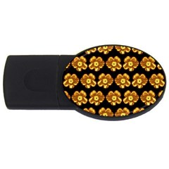 Yellow Brown Flower Pattern On Brown Usb Flash Drive Oval (2 Gb)  by Costasonlineshop