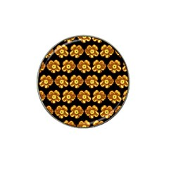 Yellow Brown Flower Pattern On Brown Hat Clip Ball Marker (4 Pack) by Costasonlineshop