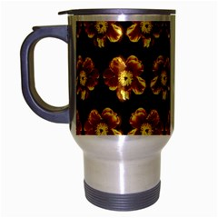 Yellow Brown Flower Pattern On Brown Travel Mug (silver Gray) by Costasonlineshop