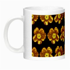 Yellow Brown Flower Pattern On Brown Night Luminous Mugs by Costasonlineshop