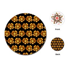 Yellow Brown Flower Pattern On Brown Playing Cards (round)  by Costasonlineshop