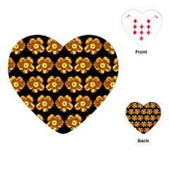 Yellow Brown Flower Pattern On Brown Playing Cards (heart)  by Costasonlineshop