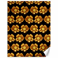 Yellow Brown Flower Pattern On Brown Canvas 12  X 16   by Costasonlineshop