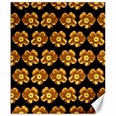 Yellow Brown Flower Pattern On Brown Canvas 20  X 24   by Costasonlineshop