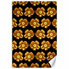Yellow Brown Flower Pattern On Brown Canvas 24  X 36  by Costasonlineshop